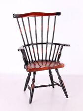 Antiker Puppenstuhl Windsor Stuhl für Puppen 2-farbig lackiert 39cm hoch