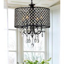Antique Black 4-light Round Crystal Chandelier - Adds Contemporary Elegance