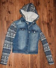 girls denim jacket Wallflower youth XS hoodie jacket blue stretch denim