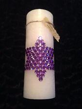 Weihnachts Kerze weiß Motiv Stern lila Größe 19 cm mit Schmucksteinen facettiert