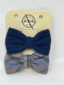 Bond & Co. Dog Bow Tie Set Of 2 Blue Flannel Bowtie Set Pet Clothing Accessories