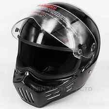 M30 Bandit Style Motorcycle Helmet Full Face Fiberglass Classic Black DOT 2XL