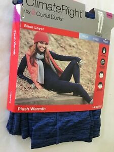 New Climate Right Cuddl Duds Women Plush Warmth Leggings Blue