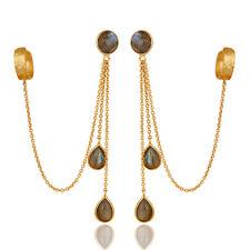 Traditional Handmade 14K Gold Plated Labradorite Chandelier Ear Cuff Jewelry