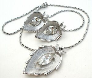 Sarah Coventry Clear Rhinestone Leaf Necklace Set Vintage Silver Tone Jewelry W