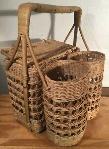 "Vintage Woven Rattan Wicker Picnic Basket, 2-Bottle Slot, Lid, 12"" x 10"" x 16"""