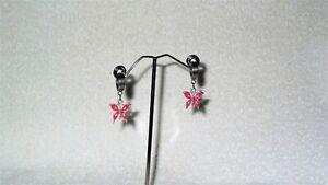Stainless Steel Pink Enamel Butterflies Charm Dangle Huggie Hoop Earring Bug