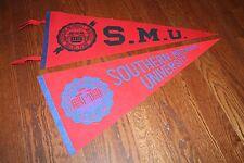 2 diff. Vintage Southern Methodist University SMU Mustangs full-size PENNANTS