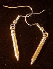 Pencil Earrings 24 Karat Gold Plate Teacher School Days