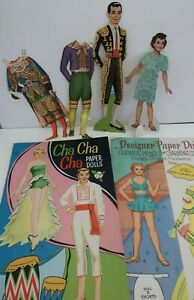 2 vintage 1960s SAALFIELD Paper Doll Books CHA CHA CHA & DESIGNER CLOTHES