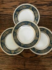 "4 Wedgwood Columbia Blue Gold 6"" Bread Plates England R4509"