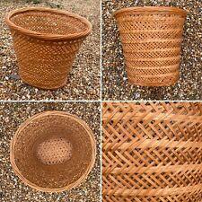 🌟Vintage Wicker Woven Rattan Basket Waste Paper Recycling Bin Plant Holder
