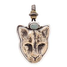 Tabra 925 Sterling Bronze Jaguar Faceted Adjustable Emerald Pendant Rare by Esme