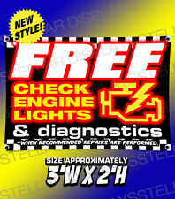 Free Check Engine Lights & Diagnostics Banner Poster Displays Open Business Sign