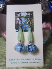 Long Handmade Silver Odd Sweetie Chocolates Lampwork Glass Bead Earrings