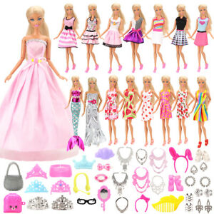 Barwa Fashion 55 Items/Set Doll Accessories Clothes =15 Random Dresses +40 Kits