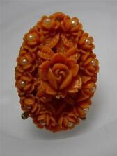 J~U~M~B~O Vintage Coral Color Celluloid & Faux Pearl Rose Adjustable Ring