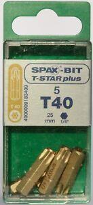 SPAX Bit T-Star Plus T40 25mm Screw Bit Pack of 5