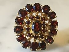 Stunning 925 Silver Cluster Garnet Ring Oval Antique Estate Vintage Gem Stone