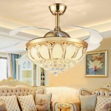 """42"""" Crystal LED Luxury Gold Chandelier Ceiling Fan Light Invisible Blade Remote"""