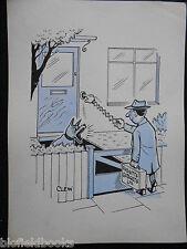 "CLIFFORD C LEWIS ""CLEW"" Original Pen & Ink Cartoon - Guard Dog/Salesman #102"