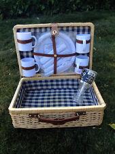 New wicker Picnic Basket suitcase service 4 mugs glasses plates Cruel Intentions