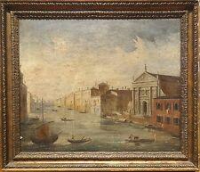 Fine Large 19th Century Italian Venice Canal View Gondola Landscape Oil Painting