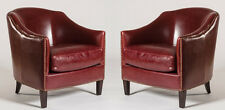 Pair of (2) Madison Red Leather Club Chairs