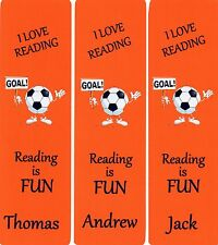 3 CHILDRENS PERSONALISED BOOKMARKS 'FOOTBALL'AMBER,18cm x 5cm LAMINATED
