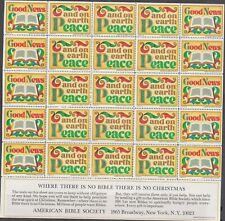 Us 1975 Christmas Seals - American Bible Society Full Sheet Mnh