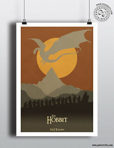 THE HOBBIT - Minimalist Movie Poster Print Posteritty JRR Tolkien Dragon Smaug