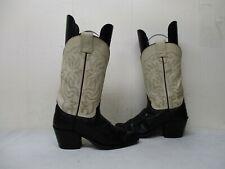Olathe Black Cream Leather Cowboy Boots Womens Size 5 B USA