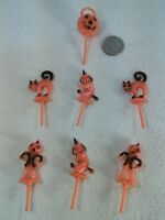 7pc Vtg Plastic Halloween Jack-o'-lantern Witch Cat Scarecrow Cake DECORATIONS