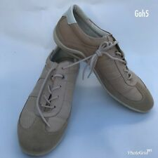 Womens Ecco Casual Shoes Leather Beige Lace Up Size EU 39