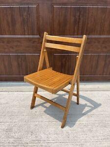 Vintage Wooden Folding Chair Mid Century Wood Slat Seat Romania USA MCM 3