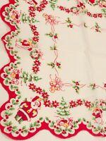 Vintage Santa Claus Snowman Hanky - Christmas Presents Bells Hankie Handkerchief