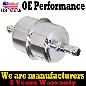 "Chrome Plated Fuel Filter Fits 3/8"" ID Hose Inline Car Auto Parts Fuel System US"