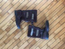 Vtg 70s Brown Leather Fur Cow Hide Shearling Snow Boots Vibram Sole Sz 9.5