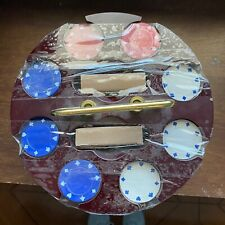 Vintage Hoyle Poker Chips & Playing Cards With Lazy Susan Poker Chip Holder Spin