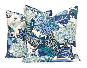 1 Pair of Schumacher Chiang Mai Dragon China Blue Luxury Designer Cushion Covers