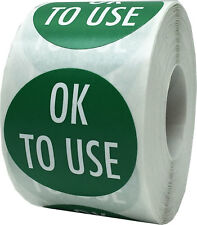 Green with White Ok To Use Stickers, 1.5 Inches Round, 500 Labels on a Roll