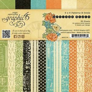 Graphic 45 Artisan Style Art Deco House 6 x 6 Patterns & Solids Cardstock Pad