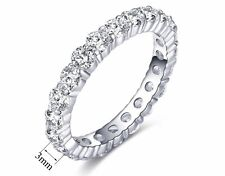 Quality Aaa Zirconia Siz6 Fashion 3mm Full Eternity Ring Band White Gold Plated