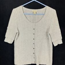 Gray 2-Ply 100% Cashmere Cardigan Button 3/4 Sleeve Sweater Women's MEDIUM