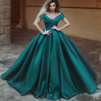 Off Shoulder Satin Prom Dress Ball gown Wedding Gown Formal Evening Gown Custom