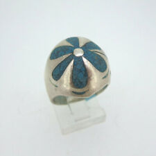 Chip Inlay Flower Ring Size 7.5 Vintage Sterling Silver Taxco Domed Turquoise