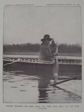Ojibwa Chippewa Indian woman on her way to the rice bed 1900 Original Print