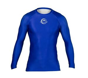 Fuji Sports Baseline IBJJF Ranked BJJ Jiu Jitsu Long Sleeve LS Rashguard - Blue