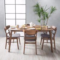 Helen Mid Century Fabric & Wood Finish 5 Piece Dining Set