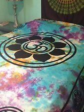 OM Aum YOGA Indian LOTUS Flower TIE DYE Hippie Wall Hanging TAPESTRY Bedspread